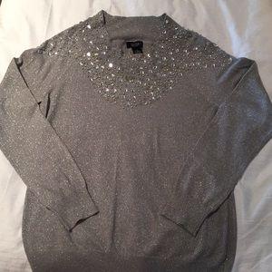 Silver rhinestone sweater